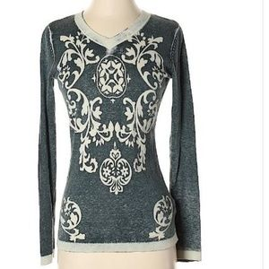 CAbi #261 Blue Damask Printed Pull Over Sw…
